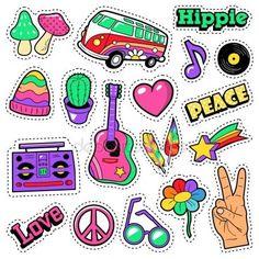Скачать - Мода хиппи значки, патчи, наклейки - Ван грибов гитары и перо в стиле поп-арт комиксов. Векторная иллюстрация — стоковая иллюстрация #129648478