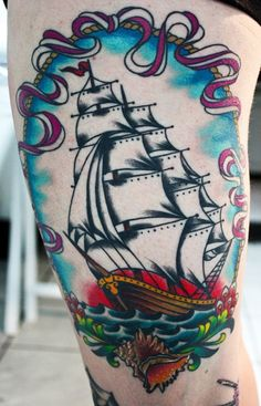 Awesome pirate ship tattoo, would love to have this (or something simular) put on me.