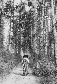 Spokane man walking away up road, 1908 :: American Indians of the Pacific Northwest -- Image Portion