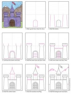 Draw a Midieval Castle There are many ways to draw a castle. Here's a step by step castle drawing with a fairy tale quality to it. Drawing For Kids, Art For Kids, Chateau Moyen Age, Castle Drawing, 2nd Grade Art, Medieval Art, Medieval Castle, Medieval Times, Art Worksheets