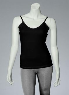 Spaghetti straps, v-neck, hip-length black tank top. What's your style? Customize your own. #tanktops #style #custom