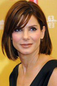 Giving fine hair the chop can suddenly make it seem much thicker. Sandra Bullock's long bob is a great style for those who don't want to go too short.