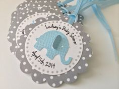 20 Grey Polka Dot with Blue Elephant Personalized Tags. Perfect for Baby showers or birthday parties. Printed Tags - Reality Worlds Tactical Gear Dark Art Relationship Goals Elephant Party, Elephant Theme, Elephant Baby Showers, Baby Elephant, Distintivos Baby Shower, Fiesta Baby Shower, Baby Shower Themes, Imprimibles Baby Shower, Scrapbook Bebe