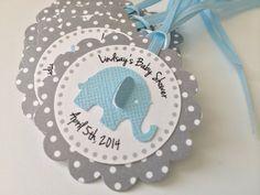 20 lunares grises con elefante azul por PaperTrailbyLauraB en Etsy
