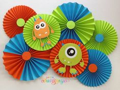 Monster Party Paper Rosettes/ Fans - Orange, Turquoise, and Lime Green Monster First Birthday, Monster 1st Birthdays, Monster Birthday Parties, 1st Boy Birthday, First Birthday Parties, First Birthdays, Monster Party, Monster Food, Paper Rosettes