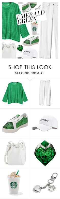 """""""Emerald City: Pops of Green"""" by pokadoll ❤ liked on Polyvore featuring Gap, Mansur Gavriel, Thierry Mugler, Current Mood and Tory Burch"""