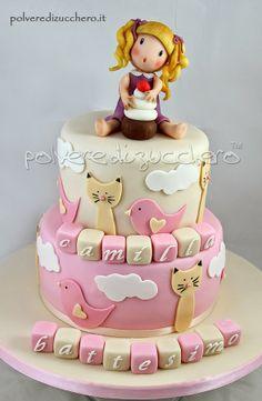 Polvere di Zucchero: cake design e sugar art. Corsi decorazione torte,biscotti,cupcakes e fiori: Torta decorata battesimo a due piani per una bimba: cake topper e storia della gabbianella e il gatto
