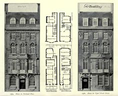 Elevations and plans for two residences, London Architecture Mapping, Architecture Drawings, Conceptual Architecture, London Townhouse, London House, Georgian Architecture, Classic Architecture, Plan Hotel, Sims Building