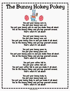 The Bunny Hokey Pokey Song/Poem Freebie.Get kids up and moving for fun Easter song/poem. Put in Poetry Binders! April Preschool, Preschool Music, Preschool Crafts, Spring Songs For Preschool, Spring Activities, Spring Songs For Kids, Kids Crafts, Pool Activities, Hokey Pokey Song