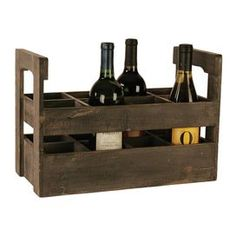 "Distressed wood wine crate.Product: Wine crateConstruction Material: Wood  Color: Charcoal  Features:  Eight sections       Dimensions: 6.75"" H x 14.75"" W x 7"" D"