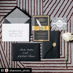 This black and gold invitation suite screams modern glam! Photo by Shannon Skloss Photography. Foil Stamped Wedding Invitations, Custom Invitations, Black And Gold Invitations, Holguin, Great Shots, Invitation Suite, Wedding Vendors, Letterpress, Congratulations