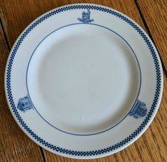 Vintage Andrews School Plate Mayer China Blue And White Restaurant China Woman #MayerChina
