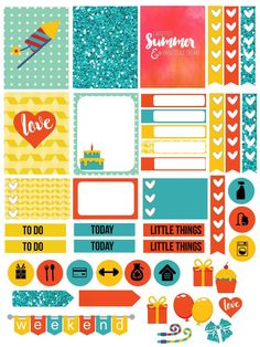 Free Printable Birthday Brights Planner Stickers from Vintage Glam Studio