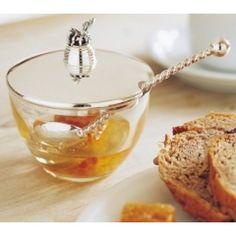 Braybrook & Britten. Sterling silver & glass Honey Pot.