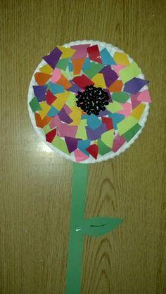 Preschool Craft Spring Flower Paper Plate Construction Black Beans Elmers Glue