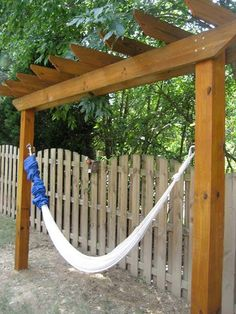 #5. Hang a hammock under the pergola for creating a backyard retreat.