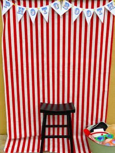 Circus themed birthday ideas. Make your own a photo booth backdrop and have an instant camera and a bunch of props on hand #CircusParty
