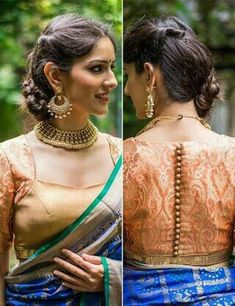 50 Latest Saree Blouse Designs From 2017 That Are Sure To Amaze You Nothing can beat a woman's beauty in a saree with matching blouse. Here are 50 latest and beautiful saree blouse designs that are suitable for every woman. Indian Blouse Designs, Brocade Blouse Designs, Pattu Saree Blouse Designs, Fancy Blouse Designs, Designer Blouse Patterns, Latest Saree Blouse Designs, Saree Blouse Patterns, Blouse Styles, Dress Styles