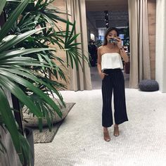 Aritzia ootd outfit culottes tube top