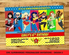 Girl Superhero Personalised Invitations Birthday Party Wonder Woman Any Age
