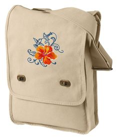 Hibiscus and Hummingbird Echo Embroidered Canvas Field Bag