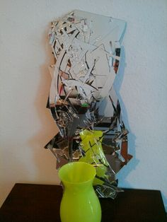did this with a broken mirror, card board back, and hot glue Broken Mirror Art, Broken Glass, Recycled Art, Repurposed, Mirror Mosaic, Art Forms, Reuse, Diy And Crafts, Recycling