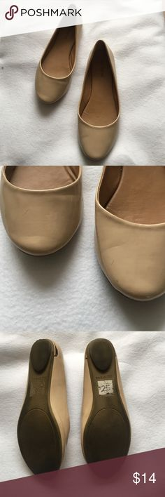 Nude flats - Size 6.5 In great condition still, worn once for a birthday party. Has a gold/rose gold bar detail on the heel. Feel free to use the offer button! Shoes Flats & Loafers