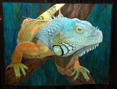 Iguana by Carol Morrissey This quilt was photographed at the 2009 International Quilt Festival in Houston, Texas. Reptiles, Lizards, Chameleons, Amphibians, International Quilt Festival, Animal Quilts, Landscape Quilts, Quilted Wall Hangings, Applique Quilts