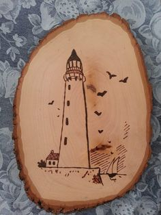 Set Of 3 Lighthouse Woodburned Wood Plaques Nautical