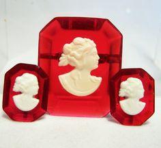 Art Deco Red Lucite Cameo Jewelry Set Screw via GretelsTreasures.