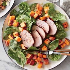 Spinach Salad with Roasted Sweet Potatoes | MyRecipes  This salad is nutrient- and antioxidant-packed, with healthy doses of fiber, iron, potassium, vitamin C, and beta-carotene. You'll save half of the potatoes for the next day's breakfast.