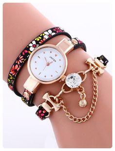 439b700bce3f Layered Chain Beaded Watch (Red)
