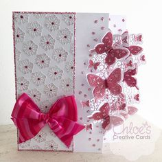 Pink Flower & Butterfly handmade card with big pink bow Butterfly Cards, Butterfly Flowers, Flower Cards, Pink Flowers, Butterflies, Handmade Birthday Cards, Greeting Cards Handmade, Chloes Creative Cards, Stamps By Chloe