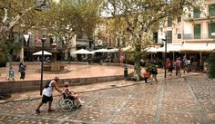 Soller in Mallorca, Spain did something brilliant for their children. Right in the middle of the plaza, right next to the cafe tables, they built a flat, smooth play area for the kids. Balls, skateboards, roller-blades or just fun. Parents sit on the walls and chat with friends or enjoy a leisurely coffee while keeping an eye on the kids. So different than the isolated playground where dutiful parents stand with arms crossed, doing duty while the children play. Definitely a must-build…