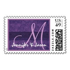 Wedding Monogram Hues of Purple Wedding Damask Postage