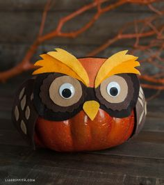 #trickortreat We are tricking our pumpkins by making them think they are a round black cat, a chubby horned owl and a sly orange fox. Ha! These balls of cuteness are made from using foam pumpkins, craft felt and googly eyes. @LiaGriffith.com