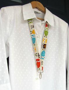 Owls Lanyard, Fabric ID Badge Lanyard Key Ring for Teacher, Student, Nurse Back to School