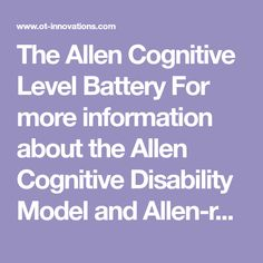 18 Best Allen Cognitive Levels images in 2019 | Occupational Therapy
