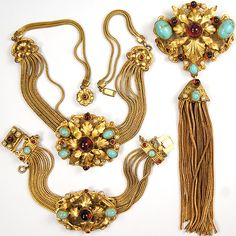 Ernest Steiner Gold Ruby and Marbled Turquoise Chains and Floral Swirls Pin Bracelet and Necklace Set