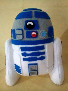 Boneco R2-D2 de feltro. Produzido de forma artesanal, super detalhado. Não necessita suporte para ficar em pé.  Mede 23 cm de altura.