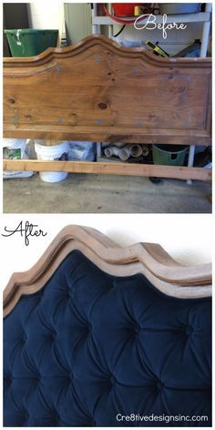 A DIY of how I took this thrifted headboard and added blue velvet tufting furniture before and after furniture diy furniture upcycling furniture dresser Furniture Projects, Furniture Makeover, Home Projects, Diy Furniture, Bedroom Furniture, Pallet Projects, Unique Furniture, Homemade Furniture, Dining Chair Makeover