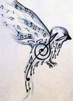 Music note bird wrist tattoo