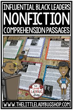 Grow your students knowledge of Influential Black Leaders with these Nonfiction Reading Comprehension Passages.These reading passages are wonderful for your students to study these influential leaders including Dr. Martin Luther King, Jr, Oprah,Rosa Parks and more! Perfect for 3rd grade, 4th grade and home school students. #readingcomprehension #readingpassages
