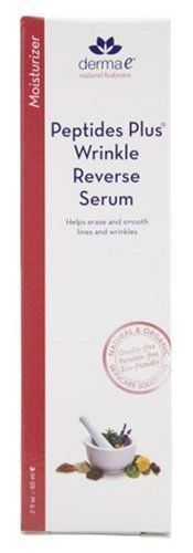 derma e Peptides Plus Double-Action Wrinkle Reverse Serum, Packaging May Vary, 2 fl oz (60 ml) by Derma E. $29.12. A light, yet silky-rich serum that provides all day hydration while softening even the deepest wrinkles. This revolutionary double-action serum includes two of the most powerful peptides that bio-science has to offer. Formulated with Palmitoyl Pentapeptide to smooth away wrinkles and Acetyl Hexapeptide to relax muscles for healthier, younger-looking ...