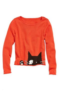Tucker + Tate 'Helaine - Kitty' Cotton & Cashmere Sweater (Toddler Girls, Little Girls & Big Girls) | Nordstrom