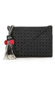 Topshop Tassel Textured Leather Clutch | Nordstrom