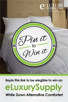 Repin this image between now and February 21st, 2015 and you will be entered to win an eLuxurySupply White Down-Alternative Comforter!   Product page: http://eluxurysupply.com/p-513-white-down-alternative-comforter-duvet-cover-insert-by-exceptionalsheets.aspx #giveaway #win