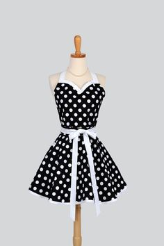 Sweetheart Retro Apron - Sexy Cute Womens Apron Black and White Polka Dot Flirty Full Kitchen Apron