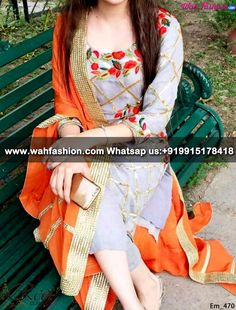 Resplendent Gray And Orange Embroidered Punjabi Suit, Product code:Em_470 For more details visit www.wahfashion.com or whatsapp us on +919915178418