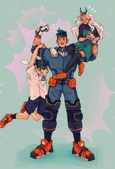 Deku Izuku midoriya Kotak and eri Boku No Academia, My Hero Academia Shouto, Hero Academia Characters, Anime Characters, All Out Anime, Anime Guys, Bakugou And Uraraka, Fan Art Anime, Familia Anime